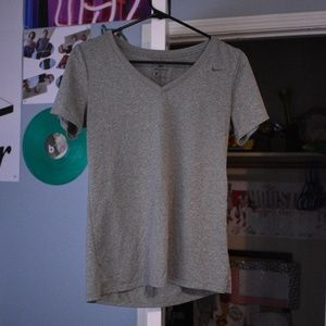 Nike Dri-Fit V-Neck Gray Top